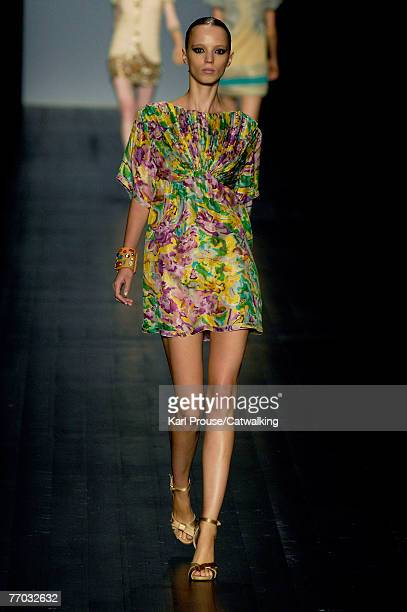 A model walks down the catwalk during the Missoni show as part of Milan Fashion Week Spring Summer 2008 on September 25 2007 in Milan Italy