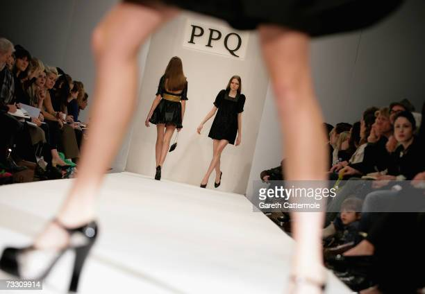 A model walks down the catwalk during the PPQ Autumn/Winter 2007 show during London Fashion Week on February 13 2007 in London England