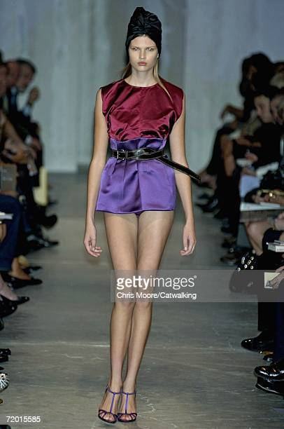 A model walks down the catwalk during the Prada Fashion Show as part of Milan Fashion Week Spring/Summer 2007 on September 26 2006 in Milan Italy