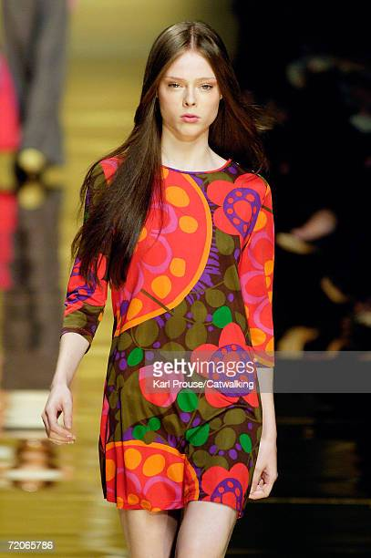 A model walks down the catwalk during the Sportmax Fashion Show as part of Milan Fashion Week Spring/Summer 2007 on September 29 2006 in Milan Italy