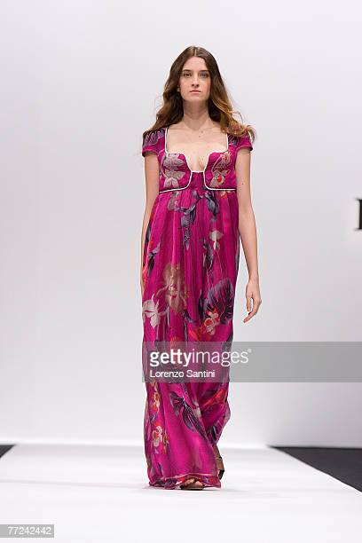 Model walks down the catwalk wearing Leonard Spring/Summer 2008 Collection on October 4 2007 in Paris