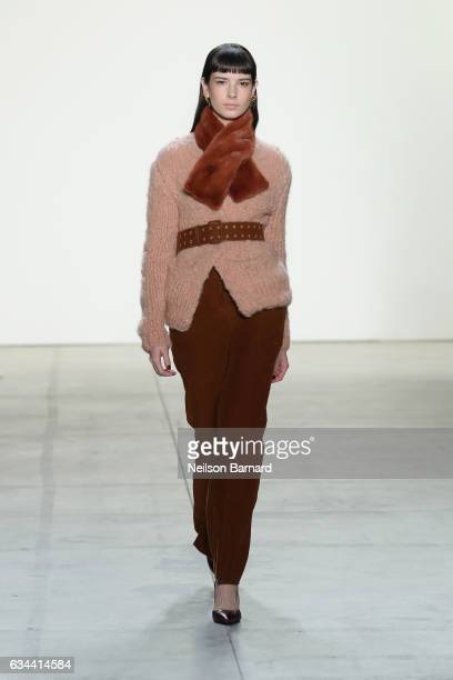 A model walks down the runway at Brock Collection Fashion Show during New York Fashion Week The Shows at Gallery 2 Skylight Clarkson Sq on February 9...
