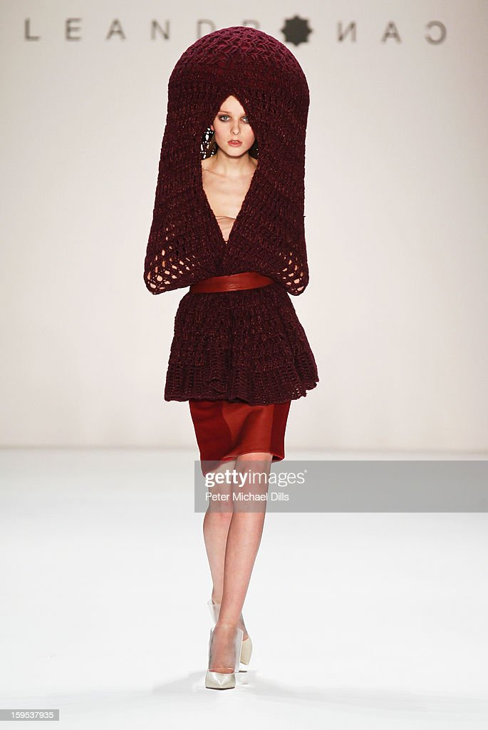 A model walks down the runway at Leandro Cano Autumn/Winter 2013/14 fashion show during Mercedes-Benz Fashion Week Berlin at Brandenburg Gate on January 15, 2013 in Berlin, Germany.