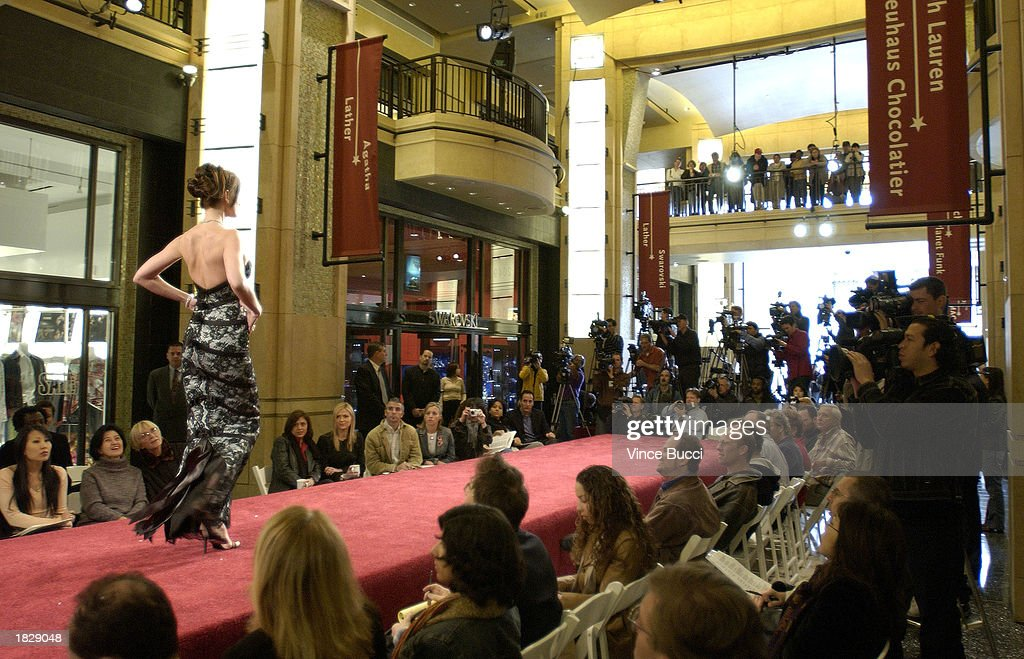 A model walks down the runway at the 2003 Oscar Fashion Preview at the Kodak Theatre on March 4, 2003 in Hollywood, California.