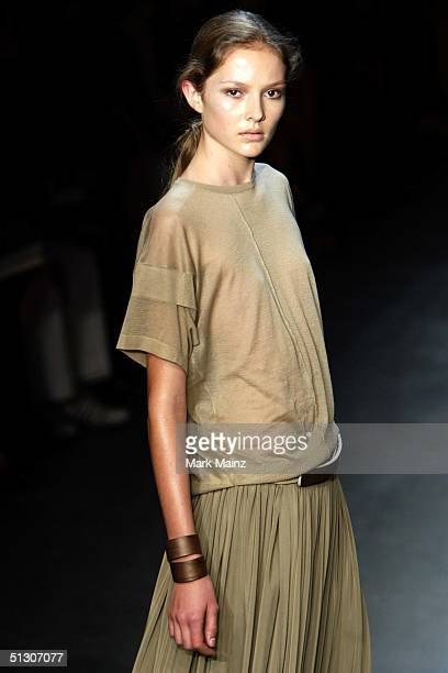 A model walks down the runway at the Calvin Klein Show during the Olympus Fashion Week Spring 2005 at the Milk Studios September 14 2004 in New York...