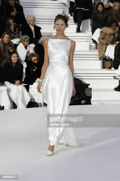 Model walks down the runway at the Chanel fashion show as part of Paris Fashion Week Spring/Summer 2006 on January 24 2006 in Paris France