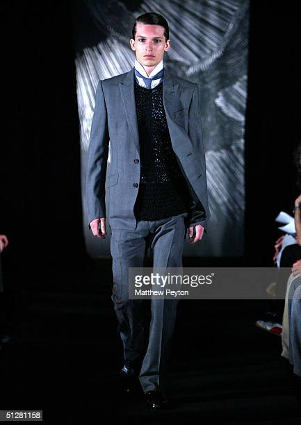 A model walks down the runway at the Cloak Spring 2005 fashion show during the Olympus Fashion Week Spring 2005 on September 9 2004 in New York