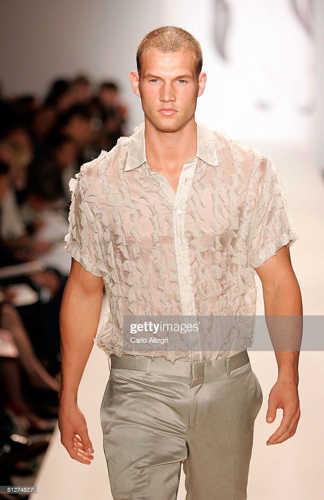 Model walks down the runway at the Duckie Brown Spring 2005 fashion show during the Olympus Fashion Week Spring 2005 at Bryant Park September 8 2004...