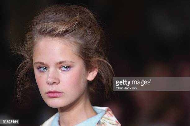 A model walks down the runway at the Elspeth Gibson fashion show as part of London Fashion Week Spring/Summer 2005 at Kent House on September 19 2004...