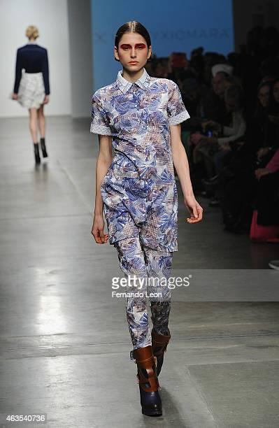 A model walks down the runway at the Katty Xiomara runway show at Pier 59 Studios during MercedesBenz Fashion Week on February 15 2015 in New York...