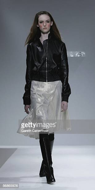 A model walks down the runway during the Ben De Lisi fashion show as part of London Fashion Week Autumn/Winter 2006/7 at the Royal Academy Of Arts on...