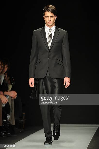 A model walks down the runway during the Carlo Pignatelli Outside Milan Fashion Week Menswear A/W 2011 show on January 15 2011 in Milan Italy