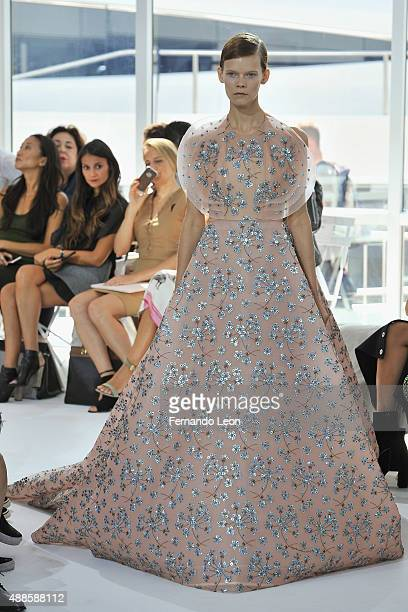 A model walks down the runway during the Delpozo fashion show during Spring 2016 New York Fashion Week at Pier 60 on September 16 2015 in New York...