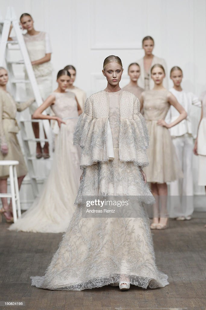 A model walks down the runway during the Fadi El Khoury S/S 2013 Fashion Show at the Mercedes-Benz Stockholm Fashion Week on August 27, 2012 in Stockholm, Sweden.