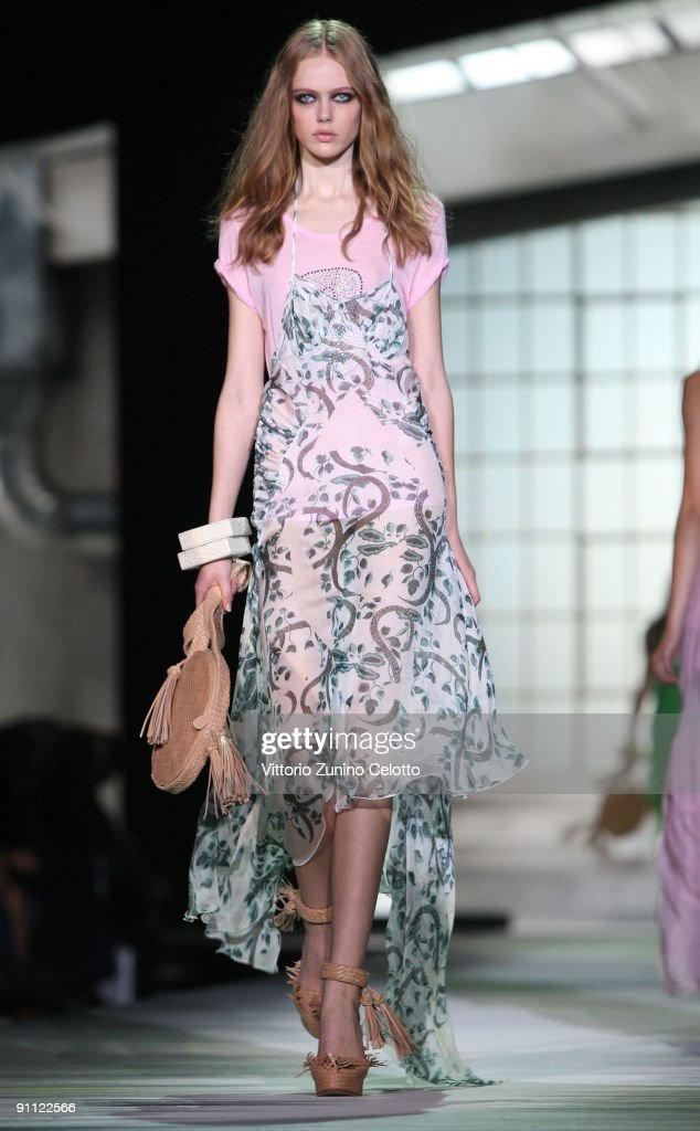 A model walks down the runway during the Just Cavalli Fashion Show as part of the Milan Womenswear Fashion Week Spring/Summer 2010 at the Milano...