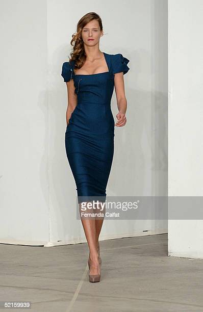 A model walks down the runway during the Roland Mouret 2005 fashion show during Olympus Fashion Week February 8 2005 in New York City