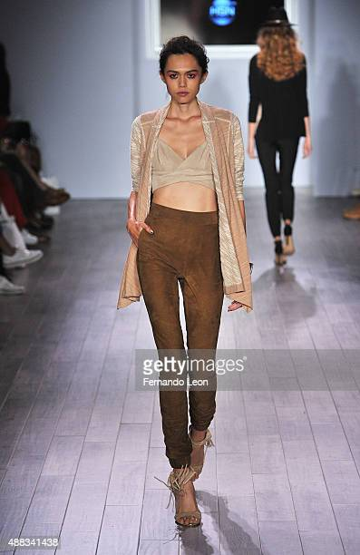 A model walks down the runway during the Serena Williams Signature Statement by HSN fashion show during the Spring 2016 Style 360 on September 15...