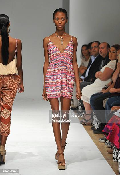 A model walks down the runway wearing Meagan Ollari designs during the Designers' Review fashion show at Helen Mills Event Space on September 6 2014...
