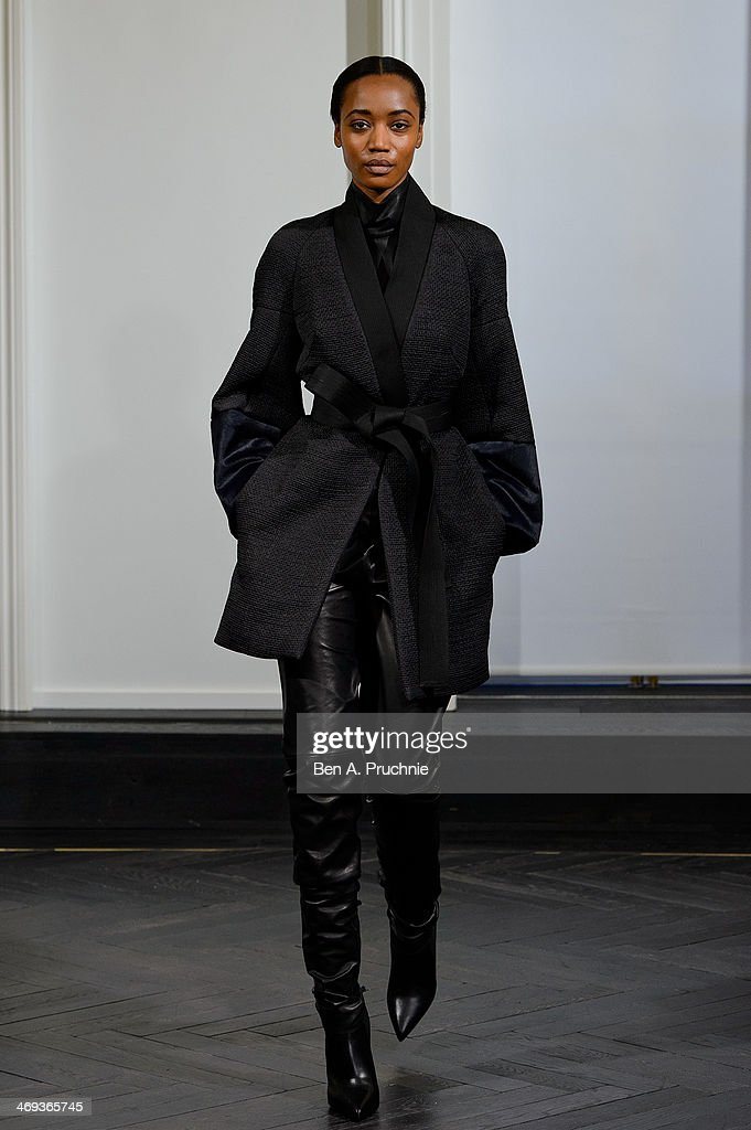 A model walks during the Amanda Wakeley presentation at London Fashion Week AW14 at on February 14, 2014 in London, England.