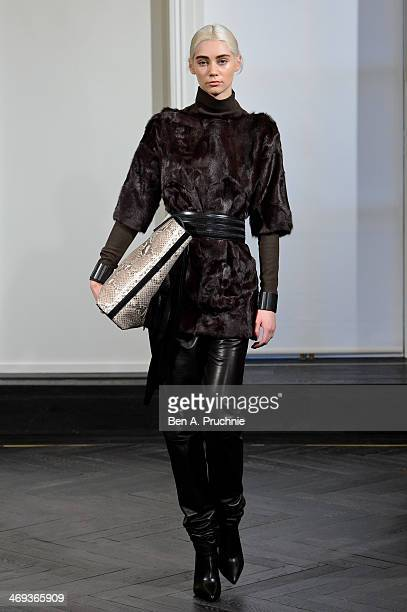 A model walks during the Amanda Wakeley presentation at London Fashion Week AW14 at on February 14 2014 in London England