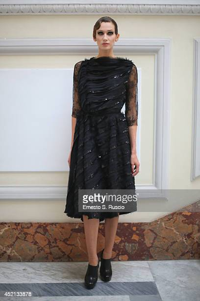 A model walks during the Antonio Grimaldi Presentation fashion show at Palazzo Besso as part of AltaRoma Fashion Week A/W 2014 on July 13 2014 in...
