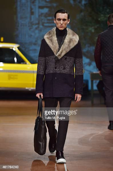 A model walks during the Antonio Marras as a part of Milan Menswear Fashion Week Fall Winter 2015/2016 on January 19 2015 in Milan Italy