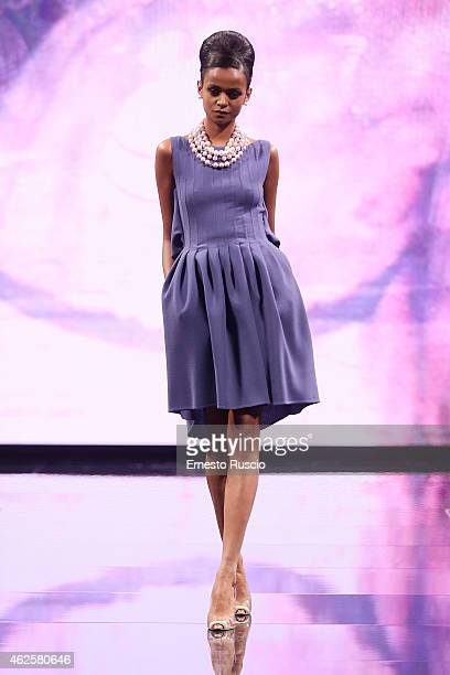 A model walks during the Camillo Bona fashion show as a part of AltaRoma 2015 at Acquario Romano on January 31 2015 in Rome Italy
