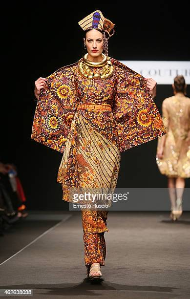 A model walks during the Curiel Couture fashion show as a part of AltaRoma 2015 at Auditorium Parco Della Musica on February 1 2015 in Rome Italy
