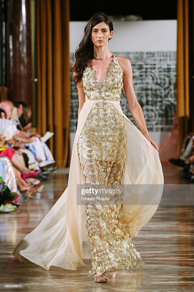 A model walks during the Elvio Acevedo fashion show, as a part of AltaRoma AltaModa Fashion Week Fall/Winter 2015/16 at ST Regis Hotel on July 12, 2015 in Rome, Italy.