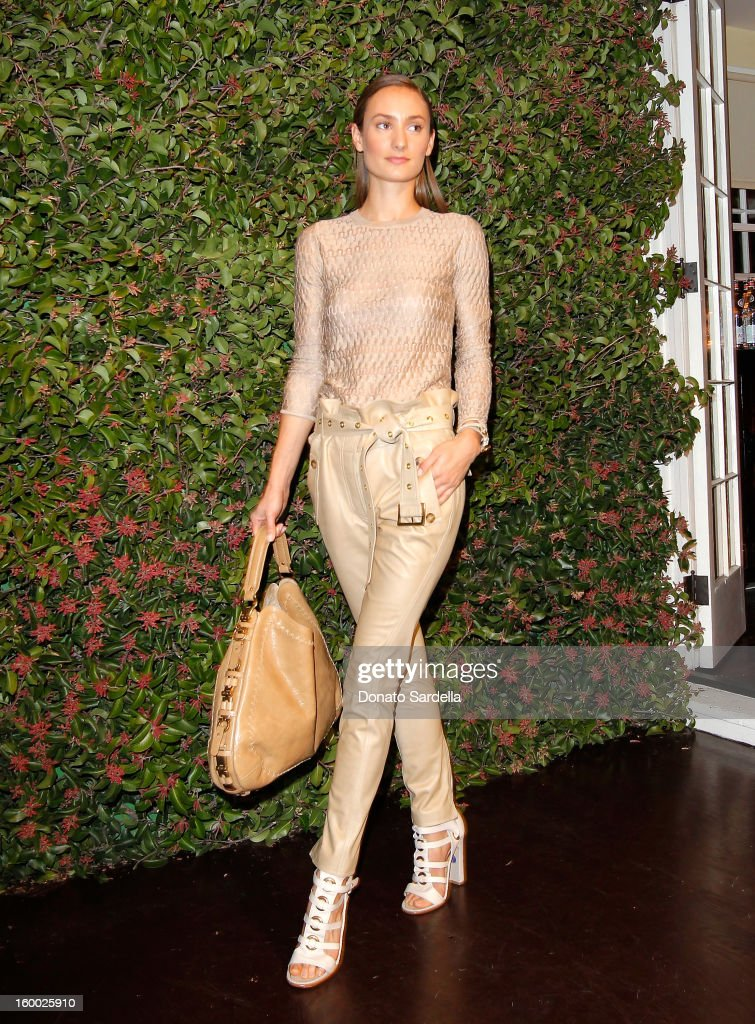 A model walks during the Ferragamo presentation Spring Summer Runway Collection with VIP dinner, hosted by Jacqui Getty and Harpers BAZAAR at Chateau Marmont on January 24, 2013 in Los Angeles, California.