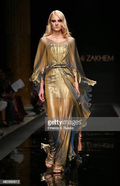 Model walks during the Rani Zakhem fashion show as a part of AltaRoma AltaModa Fashion Week Fall/Winter 2015/16 at Palazzo Delle Esposizioni on July...