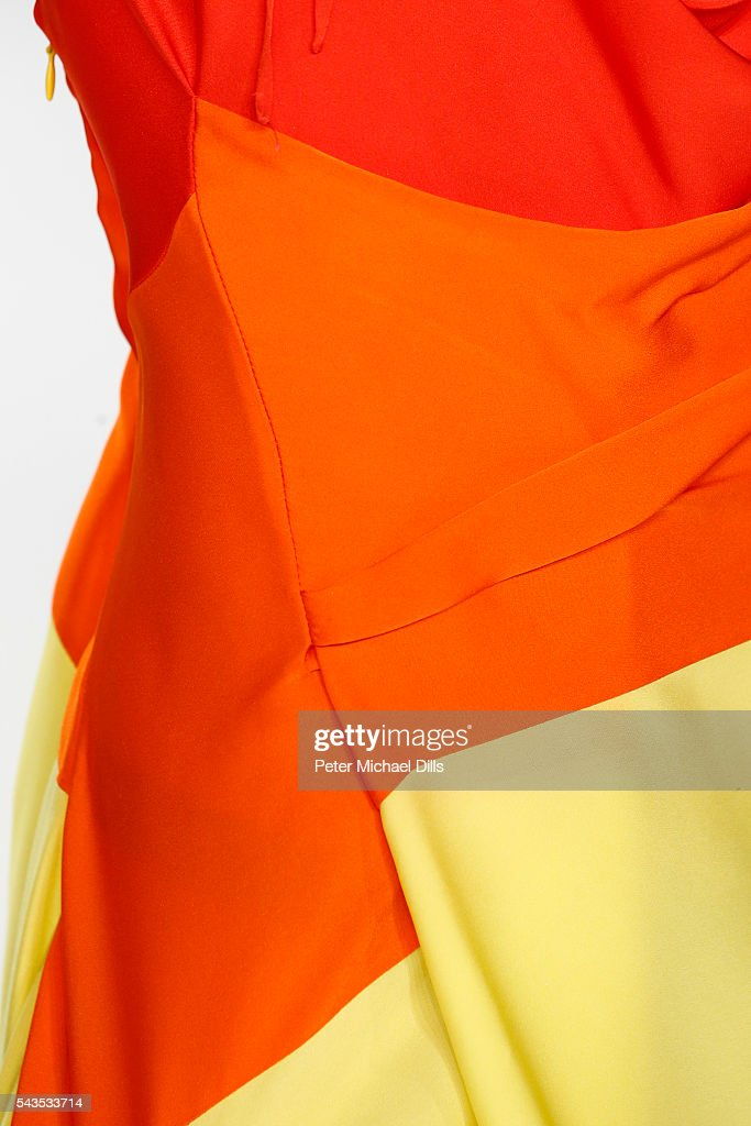 A model walks ,fashion detail, the runway at the Anja Gockel show during the Mercedes-Benz Fashion Week Berlin Spring/Summer 2017 at Erika Hess Eisstadion on June 29, 2016 in Berlin, Germany.