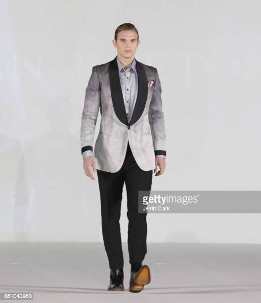 A model walks in Malan Breton's 3D Cinematic Runway Show at Style Fashion Week Los Angeles at Pacific Design Center on March 9 2017 in West Hollywood...
