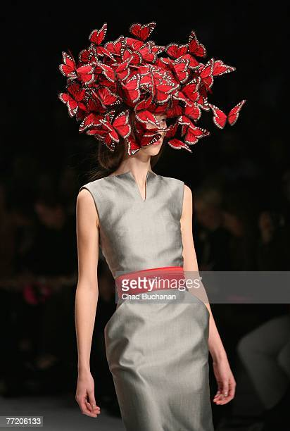A model walks on the catwalk during the Alexander McQueen Spring/Summer 2008 fashion show at the Salle Marcel Cerdan October 5 2007 in Paris France