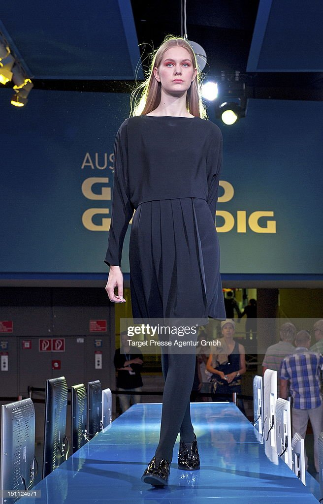 A model walks on the catwalk during the Kilian Kerner and Grundig fashion show at the 'Internationale Funkausstellung' on September 1, 2012 in Berlin, Germany.