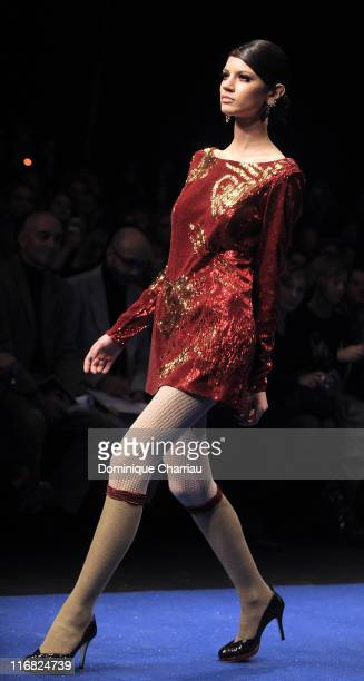 Model Walks on the runaway at the Gaspard Yurkievich ReadytoWear A/W 2009 fashion show during Paris Fashion Week at Le Carrousel du Louvre on March 6...