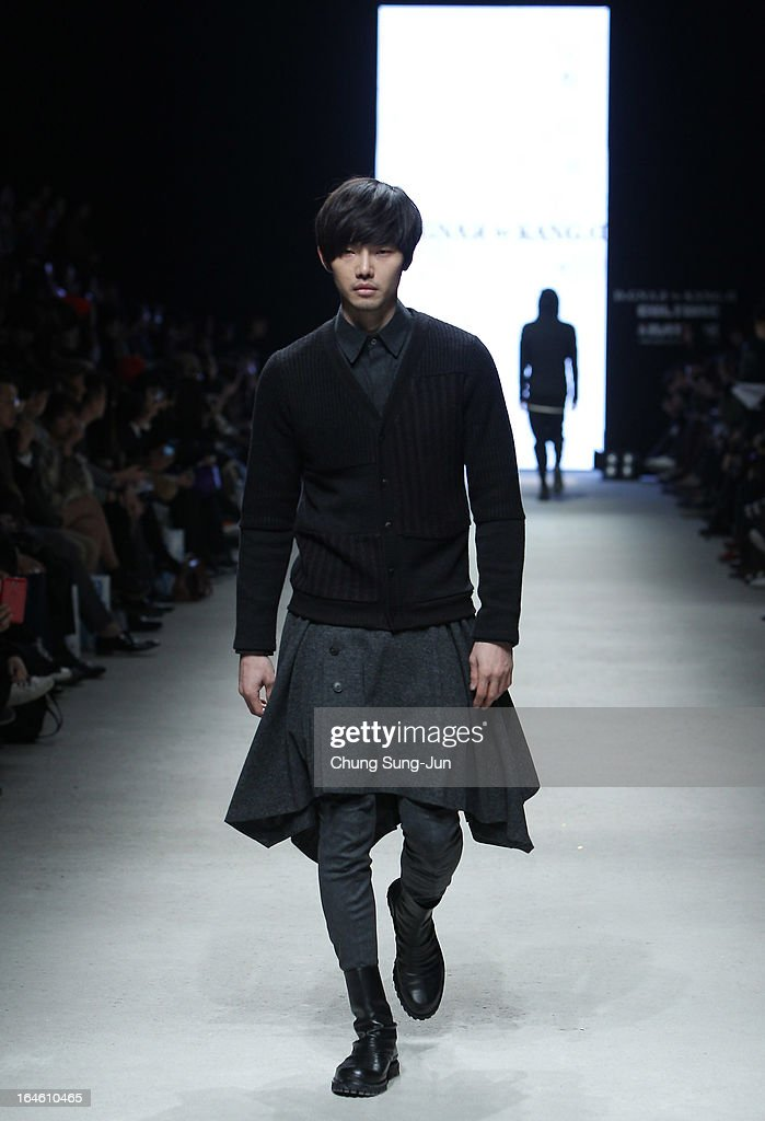 A model walks on the runway a design by Kang Dong-Jun during day one of the Seoul Fashion Week 2013 F/W at IFC Seoul on March 25, 2013 in Seoul, South Korea.