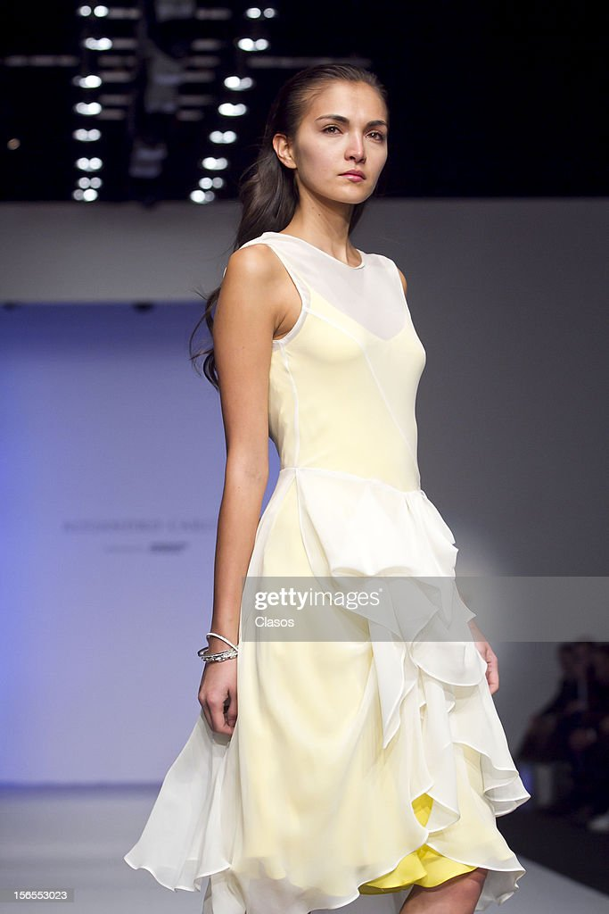 A model walks on the runway a with desing of the Designer Trista during 4th day Mercedes Benz Fashion Week Mexico Spring/Summer 2013 on November 14 2012 in Mexico City, MExico.