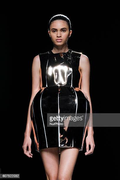 A model walks on the runway at the Amaya Arzuaga Fashion Show at Madrid Fashion Week Spring/Summer 2017/18 at Ifema on September 18 in Madrid Spain