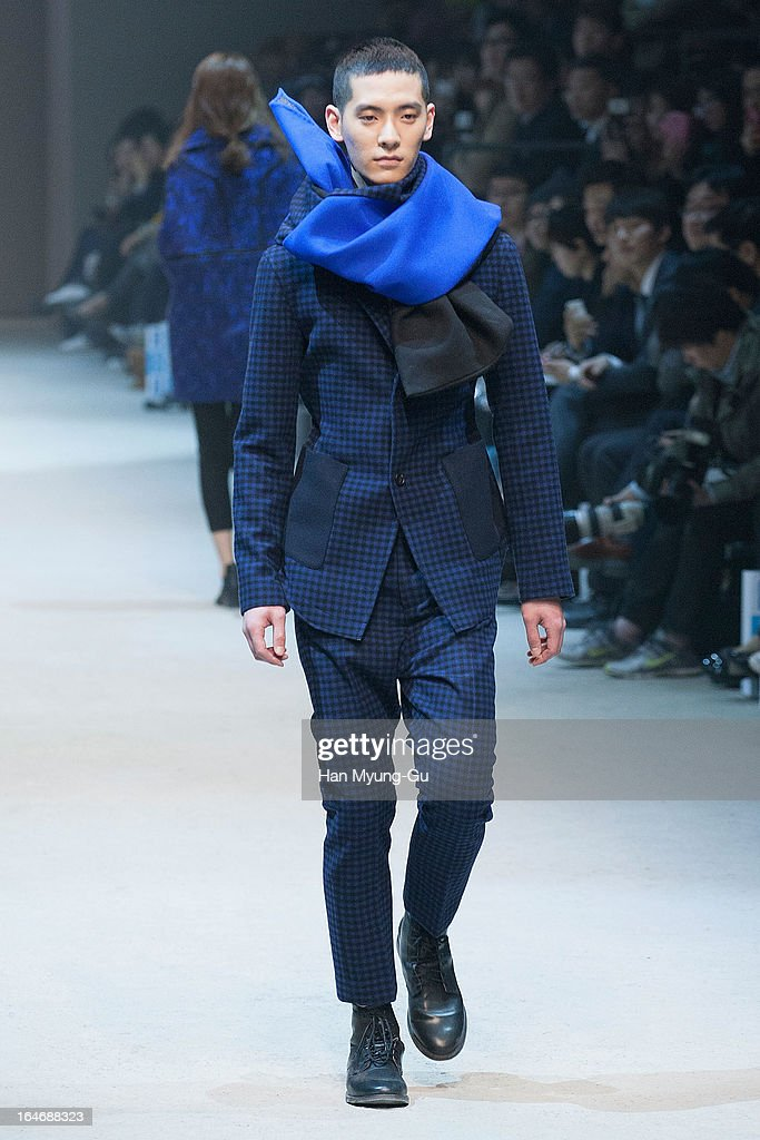 A model walks on the runway at the 'BIG PARK' show on day two of the Seoul Fashion Week F/W 2013 at IFC Seoul on March 26, 2013 in Seoul, South Korea.