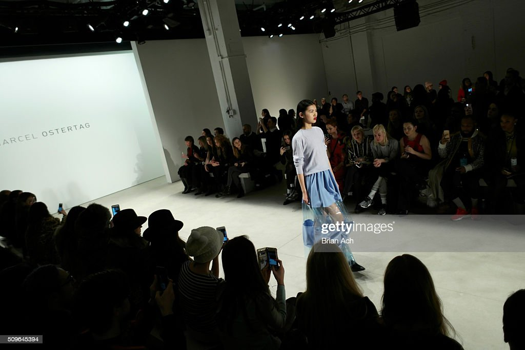 A model walks on the runway at the Marcel Ostertag - Front Row at The Gallery, Skylight at Clarkson Sq on February 11, 2016 in New York City.