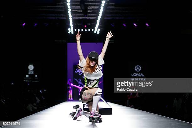 A model walks on the runway at the Maya Hansen show during MercedesBenz Fashion Week Madrid Spring/Summer 2017 at Ifema on September 18 2016 in...