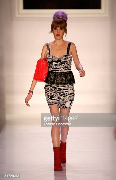 A model walks on the runway during the Abbey Dawn by Avril Lavigne Fashion Show presented by Inglot Cosmetics at STYLE360 on September 10 2012 in New...