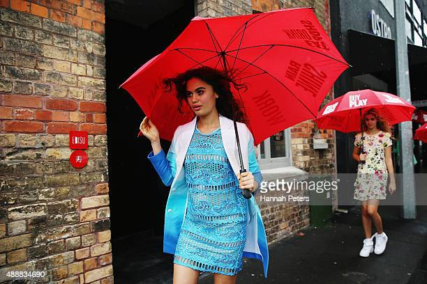 A model walks past Ebisu restaurant wearing a design by Trelise Cooper during the Britomart 'A Taste of Fashion' Progressive Lunch at the Britomart...