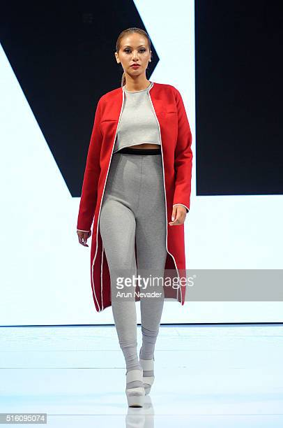 Model walks runway in Merline Labissiere at Art Hearts Fashion LAFW Fall/Winter 2016 at Taglyan Cultural Complex on March 16 2016 in Hollywood...