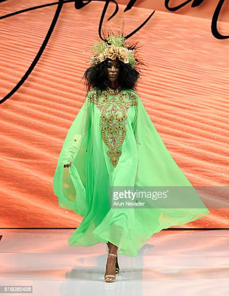 Model walks runway wearing Czarina with headress by What A Betty at Art Hearts Fashion LAFW Fall/Winter 2016 at Taglyan Cultural Complex on March 16...