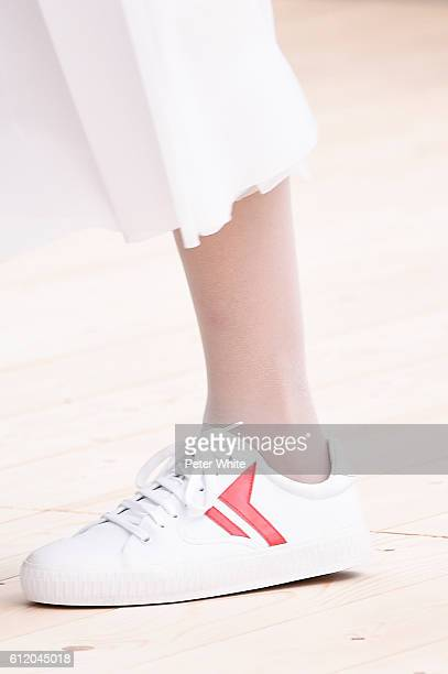 A model walks shoes detail the runway during the Celine show as part of the Paris Fashion Week Womenswear Spring/Summer 2017 on October 2 2016 in...