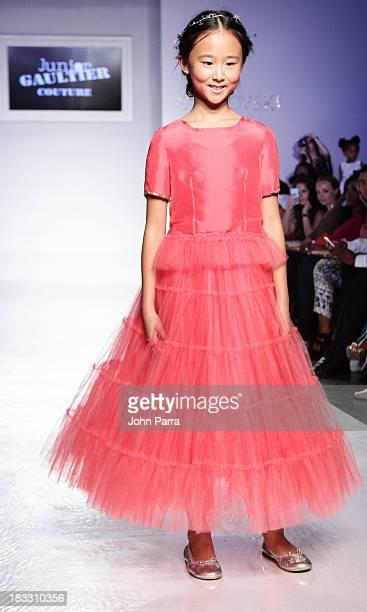 A model walks the at the Junior Gaultier Couture preview during the Swarovski at petiteParade NY Kids Fashion Week in Collaboration with VOGUEbambini...