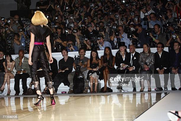 A model walks the catwalk at the Alexander McQueen readytowear collection show spring summer 2008 at POPB on October 5 2007 in Paris France