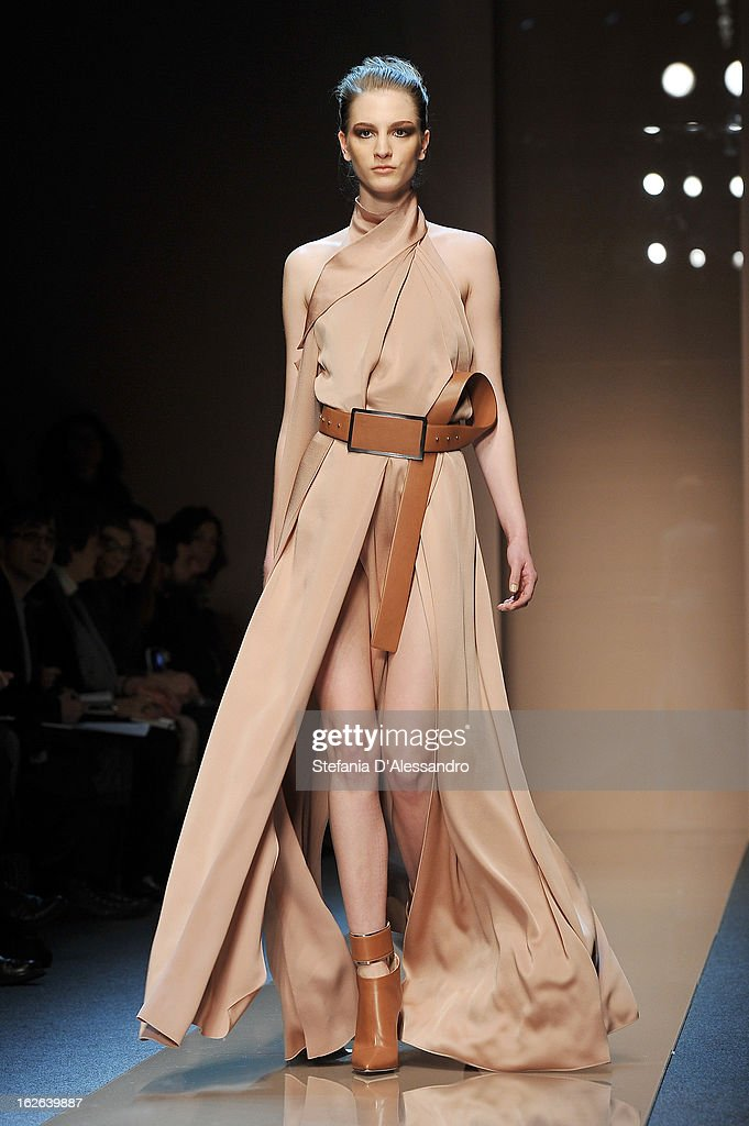 A model walks the catwalk at the Gianfranco Ferre fashion show as part of Milan Fashion Week Womenswear Fall/Winter 2013/14 on February 25, 2014 in Milan, Italy.